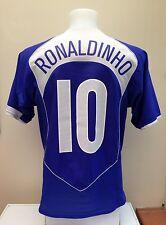 Brazil Away Football Shirt Jersey RONALDINHO Medium M Away Blue 2004/2006 Brasil