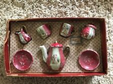 Vintage, Rare,  White and Red Lady & Gentleman Courting 7-pc Child's Tea Set!!