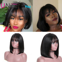 UNice Malaysian Short Bob Straight Lace Front Human Hair Wig With Bangs Glueless