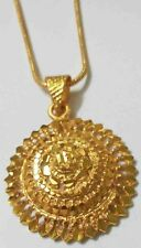 "22K 23K 24K Indian Jewelry Solid Yellow Gold Plated Pendant 17"" Chain Necklace"