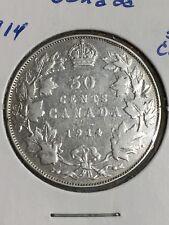 1914 CANADA  SILVER  50 CENTS HALF DOLLAR