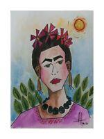 Frida Kahlo inspired Original Painting~ raw  OUTSIDER FOLK Art C. Atencio