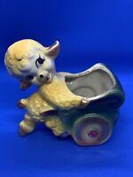 Vintage Retro Baby Lamb Sheep Planter Ceramic Pushing Cart Kitsch Gold Trim