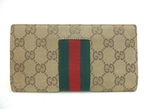 Authentic GUCCI GG Canvas Long Wallet Bifold