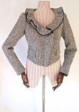 BURBERRY Black & White Wool Striped Cropped Jacket - UK 8