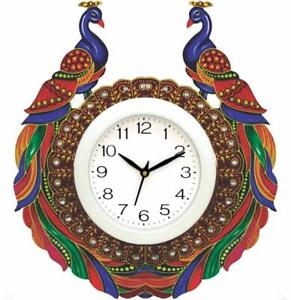 Hand Painted Peacock Wall Clock Living Room Office Christmas Gift Home Decor 14""