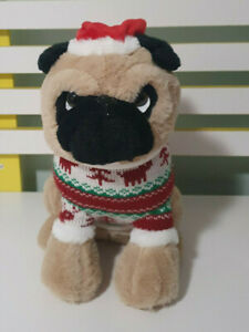PUG PLUSH TOY CHRISTMAS SWEATER STUFFED ANIMAL DOG TOY 30CM