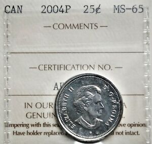 2004-P Canada 25 cents ICCS MS-65