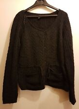 H & M Black Belted Acrylic Knitted cardigan Cardi Button Down Size M