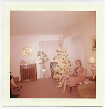 Square Vintage 60s PHOTO Woman Sitting In Chair By White Flocked Christmas Tree