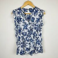Katies Womens Blouse Size 8 Floral Sleeveless 100% Linen Blue White Gorgeous Top