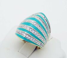 STUNNING!!! C^A Canada CZ Ring in Sterling Silver Enamel Finish Size 7