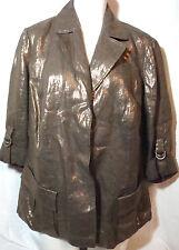 Lafayette 148 NewYork  Metallic Solid Gold Linen 3/4 Sleeve Snap-Front Jacket 12