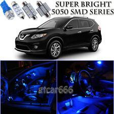 For Nissan Rogue 2008-2014 Blue LED Interior Light Kit + License Plate Light 8pc