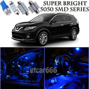 For Nissan Rogue 2008-2014 Blue LED Interior Light Kit + License Plate Light 8pc