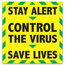 Stay Alert Car Window Sticker Control The Virus & Save Lives Vinyl Decal - 20cm