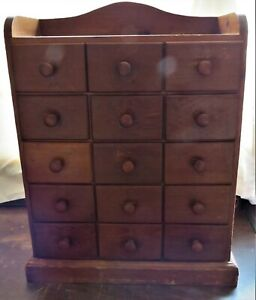ANTIQUE PRIMITIVE 15 DRAWER WOODEN SPICE CABINET / APOTHECARY CABINET