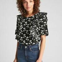 Gap floral ruffle short sleeve ruffle short sleeve blouse top size: small