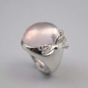 Solid 925 Sterling Silver 22mm Oval Pink Chalcedony Woman's Ring Size 6-12