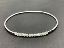 925 Sterling Silver Rainbow Moonstone Bangle Bracelet Gemstones Gem Stone Thin
