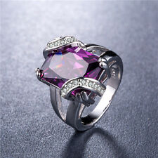 925 Silver Huge Princess Cut Amethyst Gorgeous Women Wedding Ring Size 9