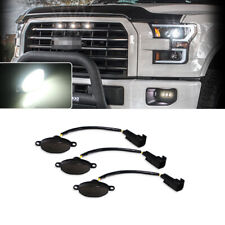 3pc Smoked Lens12-SMD White LED Lamps For Ford Raptor Front Grill Running Lights