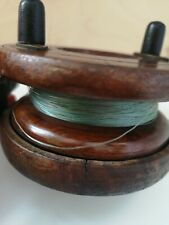 vintage antique brass and wood fishing reel
