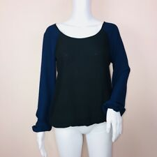 Max Studio XS Top Blue Black Color Block Scoop Neck Long Sleeve