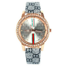 WoMaGe Womens Wrist Watch Gift Round Crystal Dial Gray PU Leather Quartz Luxury