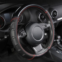 Luxury Faux Leather Steering Wheel Cover Massage Universal 38cm Car SUV Black