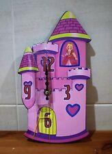 ENFANTS Pièce Rose Fairy Princesse Château Mural Temps Horloge Ornement Par