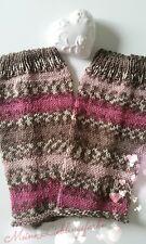 🌺 Stulpen Norweger Muster braun pink Gr. L handmade 🌺