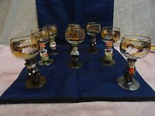 Goebel Hummel Wine Glass Figurines Vtg Rhine Wine Lot Boy Girl Pair 8 Gold