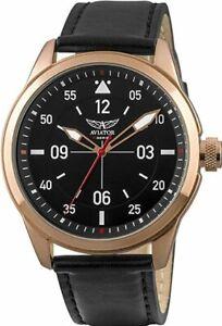 Armbanduhr Herren AVIATOR F-Series Herren Analog Quarz Rotgold Schwarz Lederband