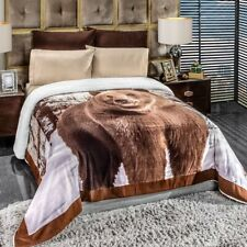 BEAR WINTER BLANKET WITH SHERPA VERY SOFTY THICK AND WARM QUEEN/KING SIZE