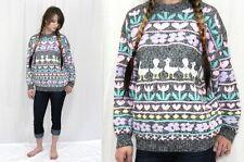 Vintage 80s Pastel DUCK Floral HEART Novelty Fairy KEI Arielle Sweater Jumper~SM