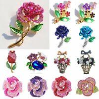 Charm Pearl Rose Flower Leaf Crystal Lady Women Breastpin Brooch Pin Jewelry New