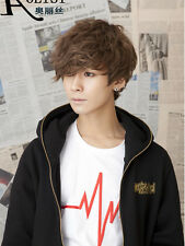 Korean Boy Short Brown Curly Hair Men Fashion Cosplay Daily Synthetic Full Wigs