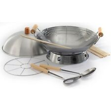 "Norpro 10-Piece Stir Fry Steaming Deep Frying 14"" Carbon Steel Wok Set With Lid"