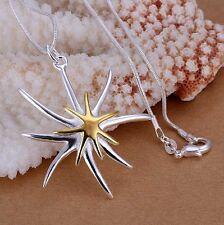 Collar Estrella de mar Flores Edelweiss plata y oro - NUEVO