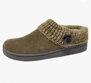 Clarks Women's Knit Scuff Slipper Mule Sweater Collar Clog Suede Size 7 NWOT