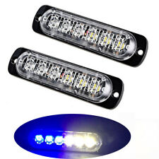 2X Super Bright White&Blue 6-LED Warning Emergency Flasher Strobe Light Truck
