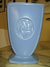 Vintage American pottery periwinkle blue tall vase with stylized deer Modernist