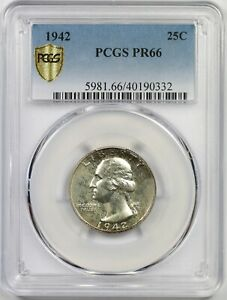 1942 25C PCGS Gold Shield PR 66 Washington Silver Quarter