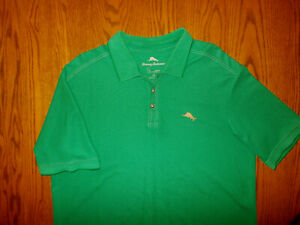 TOMMY BAHAMA SHORT SLEEVE GREEN POLO SHIRT MENS LARGE EXCELLENT CONDITION