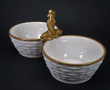 Antique Italian Gold Dolphin Handled Porcelain Bowl Dr. Ermete Agostinelli