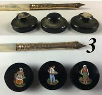 Antique 3pc Figural Micro Mosaic Buttons, Victorian Grand Tour, 2 Women, 1 Man