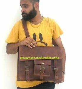 """Messenger Handmade Case Bag Satchel Men's Natural Leather Vintage 15.6"""" Laptop"""