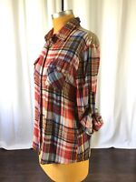 E2 Clothing Womens Top Plaid Sequin Tab Sleeve Bling Size L