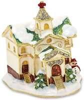 Bejeweled Winter Church Trinket Box